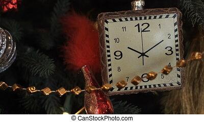 speelbal, closeup, kerstmis, klok