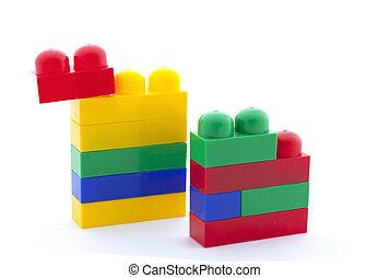 speelbal, constructor, op wit, achtergrond, vrijstaand