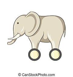 speelbal, elefant, op wielen, pictogram, spotprent, stijl