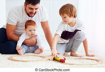 speelbal, familie huis, spoorweg, spelend, straat, vrolijke