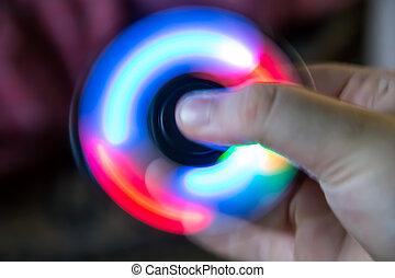 speelbal, geleide, licht, hand, spinner, fidget