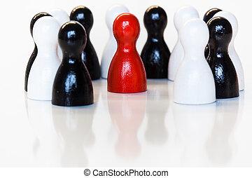 speelbal, groep, figurines, black , wit rood
