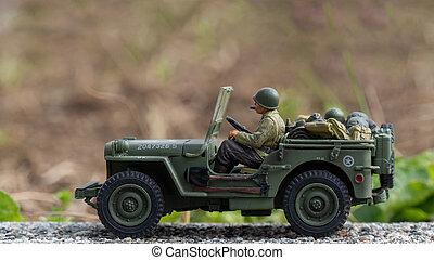 speelbal, jeep, oorlogstijd, buiten, klim model