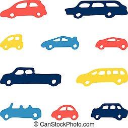 speelbal, kleur, auto, seamless, achtergrondmodel
