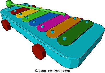 speelbal, kleur, xylofoon, illustratie, vector, type, of