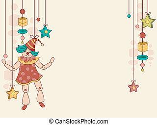 speelbal, marionet, achtergrond