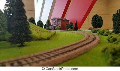 speelbal model, van, de, spoorweg