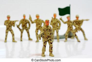 speelbal, soldiers.