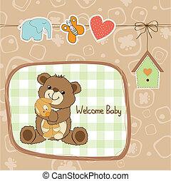 speelbal, teddy beer, douche, baby, kaart
