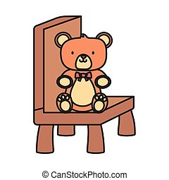 speelbal, teddy, geitjes, beer, zittende , stoel
