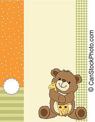 speelbal, teddy, kinderachtig, groet, beer, zijn, kaart