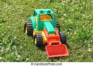 speelbal, tractor, grass., groene