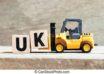 speelbal, woord, compleet, (abbreviation, k, vorkheftruck, verenigd, hout, kingdom), uk, achtergrond, brief, houden, blok
