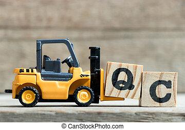 speelbal, woord, compleet, (abbreviation, vorkheftruck, gele, q, qc, hout, control)on, achtergrond, brief, houden, kwaliteit, blok