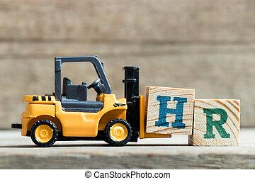 speelbal, woord, compleet, hr, h, vorkheftruck, achtergrond, gele, hout, menselijk, (abbreviation, brief, houden, resource)on, blok