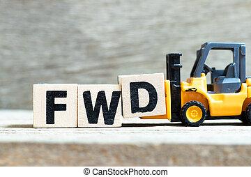 speelbal, woord, d, fwd, (abbreviation, vorkheftruck, hout, achtergrond, brief, houden, forward), blok, compleet