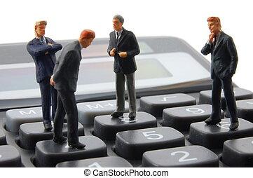 speelbal, zakenmens , op, rekenmachine, vrijstaand