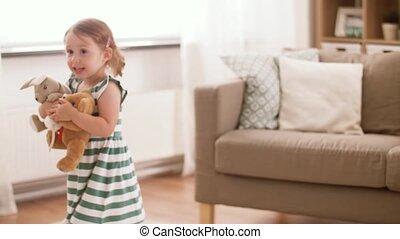 speelgoed, baby, thuis, meisje, zacht, spelend, vrolijke
