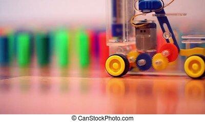 speelgoed belemmert, gekleurde, domino, machine, achter,...