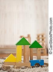 speelgoed belemmert, houten