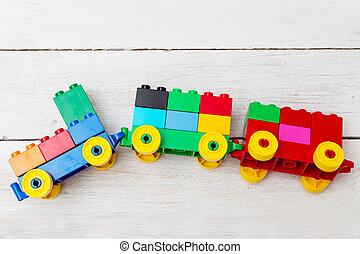 speelgoed, gemaakt, ontwikkelen, train., constructor, kind
