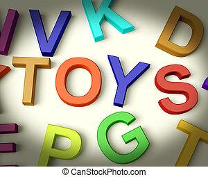 speelgoed, geschreven, in, veelkleurig, plastic, geitjes,...