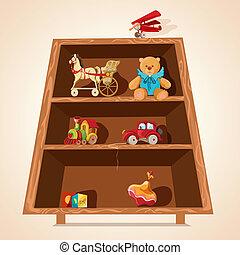 speelgoed, op, planken, afdrukken