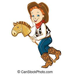 speelgoed paard, cowboy, geitje