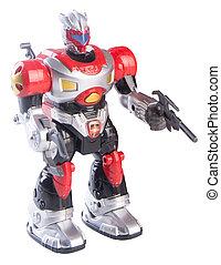 speelgoed robot, op, een, achtergrond