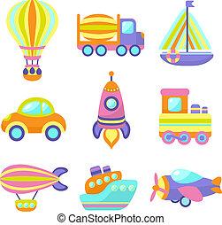 speelgoed, set, vervoeren, iconen