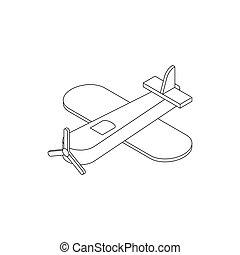 speelgoed vliegtuig, pictogram, isometric, 3d, stijl