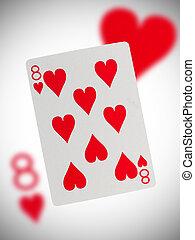 speelkaart, acht, van, hartjes