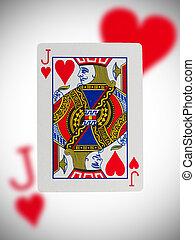 speelkaart, dommekracht, van, hartjes
