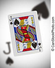 speelkaart, dommekracht, van, schoppen
