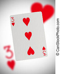 speelkaart, drie, van, hartjes