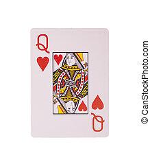 speelkaart, -, hartenvrouw