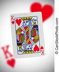 speelkaart, koning, van, hartjes