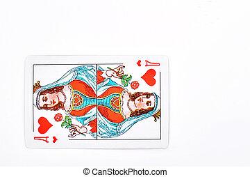 speelkaart, koningin, van, hearts.