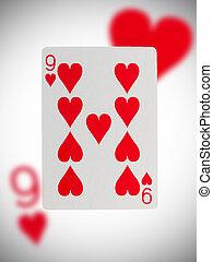 speelkaart, negen, van, hartjes