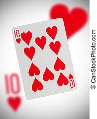 speelkaart, tien, van, hartjes