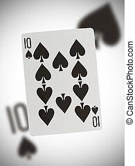 speelkaart, tien, van, schoppen
