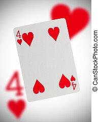 speelkaart, vier, van, hartjes