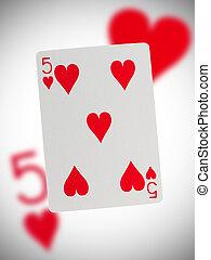 speelkaart, vijf, van, hartjes