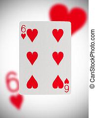 speelkaart, zes, van, hartjes