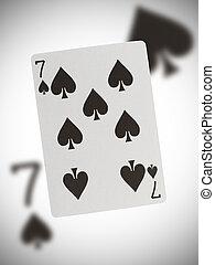 speelkaart, zeven, van, schoppen