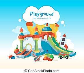 speelplaats, childrens, heuvels, kastelen, inflatable