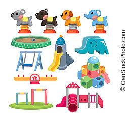 speelplaats, park, spotprent, pictogram