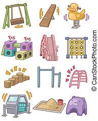 speelplaats, spotprent, pictogram