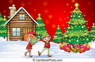 speels, dwarves, twee, bomen, kerstmis