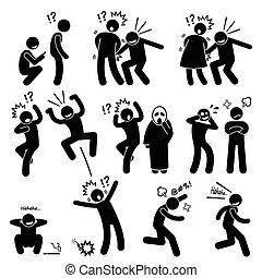 speels, grappige mensen, acties, poets